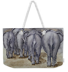Elephants Leaving...no Butts About It Weekender Tote Bag by Kelly Mills