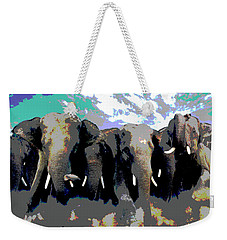 Weekender Tote Bag featuring the mixed media Elephants On The Move by Charles Shoup