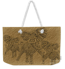 Elephants Three Weekender Tote Bag