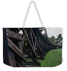 Weekender Tote Bag featuring the photograph Harpers Ferry Elevated Railroad by Ed Clark