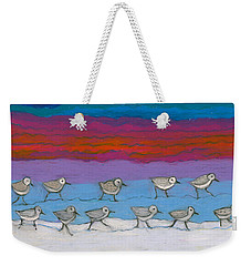 Weekender Tote Bag featuring the painting Eleven Pipers Piping by Denise Weaver Ross