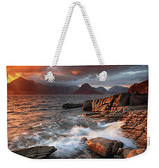 Weekender Tote Bag featuring the photograph Elgol Stormy Sunset by Grant Glendinning