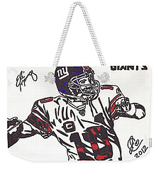 Weekender Tote Bag featuring the drawing Eli Manning by Jeremiah Colley