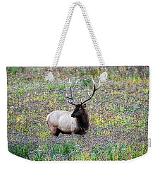 Elk In Wildflowers #2 Weekender Tote Bag