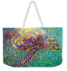 Weekender Tote Bag featuring the digital art Ella The Turtle by Erika Swartzkopf