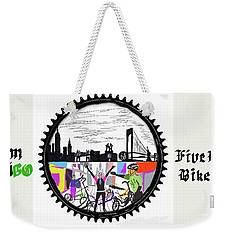 elliptiGO meets the 5 boros bike tour Weekender Tote Bag