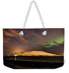 Elv Or Troll And Viking With A Sword In The Northern Light Weekender Tote Bag