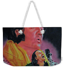 Weekender Tote Bag featuring the painting Elvis And Jon by Thomas J Herring
