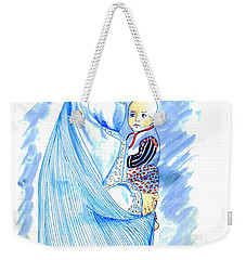 Embroidered Blue Lady-cage -- Woman In Burka Weekender Tote Bag