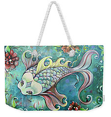 Emerald Koi Weekender Tote Bag by Shadia Derbyshire
