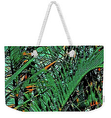 Weekender Tote Bag featuring the digital art Emerald Palms by Mindy Newman