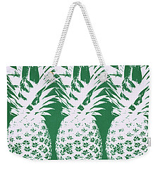 Weekender Tote Bag featuring the mixed media Emerald Pineapples- Art By Linda Woods by Linda Woods