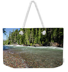 Weekender Tote Bag featuring the photograph Emerald Waters Flow by Margaret Pitcher