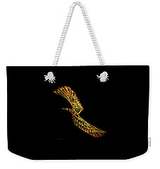 Weekender Tote Bag featuring the digital art Emerald Wings by Asok Mukhopadhyay