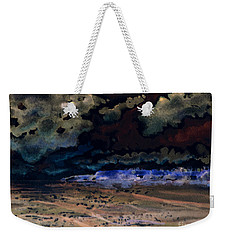 Weekender Tote Bag featuring the painting Emerging Darkness by Reed Novotny