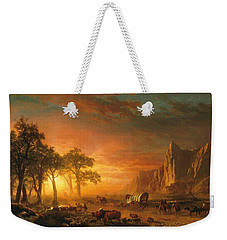 Weekender Tote Bag featuring the photograph Emigrants Crossing The Plains - 1867 by Albert Bierstadt