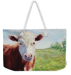 Weekender Tote Bag featuring the painting Emmett by Vikki Bouffard