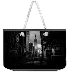 Weekender Tote Bag featuring the photograph Empire State Building Bw by Marvin Spates