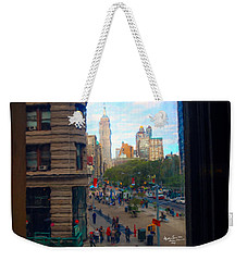 Weekender Tote Bag featuring the photograph Empire State Building - Crackled View 2 by Madeline Ellis