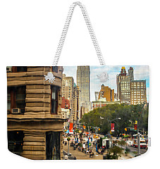 Weekender Tote Bag featuring the photograph Empire State Building - Crackled View 3 by Madeline Ellis