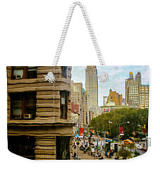 Weekender Tote Bag featuring the photograph Empire State Building - Crackled View by Madeline Ellis