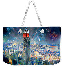 Empire State Building In 4th Of July Weekender Tote Bag by Ylli Haruni