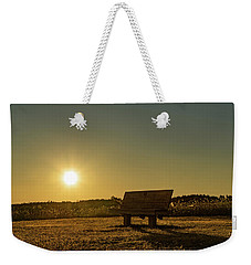 Weekender Tote Bag featuring the photograph Empty Cavendish Beach Bench by Chris Bordeleau