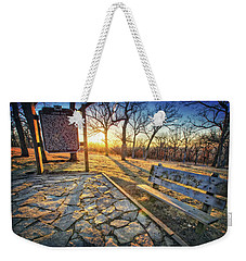 Weekender Tote Bag featuring the photograph Empty Park Bench - Sunset At Lapham Peak by Jennifer Rondinelli Reilly - Fine Art Photography