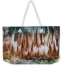 Encaustic Abstract Brown Blue-green Weekender Tote Bag