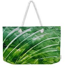 Encaustic Abstract Green Fan Foliage Weekender Tote Bag