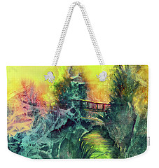 Weekender Tote Bag featuring the painting Enchanted Bridge by Allison Ashton