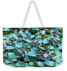 Weekender Tote Bag featuring the photograph Painted Water Lilies by Theresa Tahara