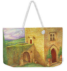 Weekender Tote Bag featuring the painting Enchanting Fairytale Chateau Landscape by Judith Cheng