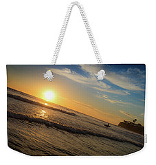 Weekender Tote Bag featuring the photograph End Of Summer Sunset Surf by T Brian Jones