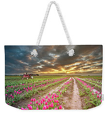 Weekender Tote Bag featuring the photograph Endless Tulip Field by William Lee