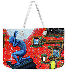 Weekender Tote Bag featuring the painting Energy Flow, The Active Space And The Effects Of The Rising Moon by Similar Alien