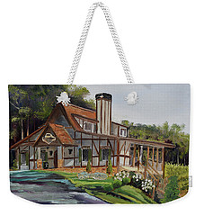 Weekender Tote Bag featuring the painting Engelheim In The Morning - Vineyard - Ellijay, Ga by Jan Dappen