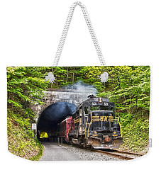 Engine 501 Coming Through The Brush Tunnel Weekender Tote Bag by Jeannette Hunt