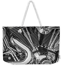 Weekender Tote Bag featuring the photograph Engine Chrome In Black And White by Samuel M Purvis III