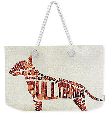 Weekender Tote Bag featuring the painting English Bull Terrier Watercolor Painting / Typographic Art by Ayse and Deniz
