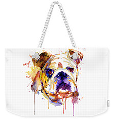 Weekender Tote Bag featuring the mixed media English Bulldog Head by Marian Voicu