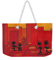 Weekender Tote Bag featuring the painting Enjoy Dancing In Red Town P1 by Manuel Sueess
