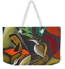 Weekender Tote Bag featuring the painting Enjoying Food And Drink by Leon Zernitsky