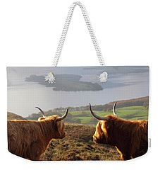 Enjoying The View - Highland Cattle Weekender Tote Bag