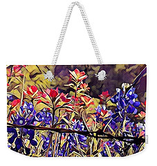 Weekender Tote Bag featuring the photograph Ennis Bluebonnents by Diane Miller