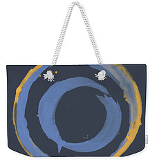 Weekender Tote Bag featuring the painting Enso T Blue Orange by Julie Niemela