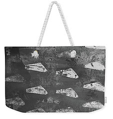 Weekender Tote Bag featuring the painting Eoliths Grayscale by Robin Maria Pedrero