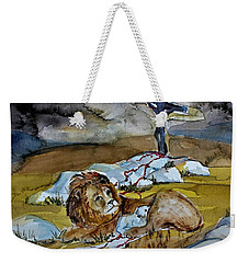 Weekender Tote Bag featuring the painting Ephesians 2 13 by Mindy Newman