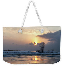 Erie Sunset On Lake Michigan Weekender Tote Bag