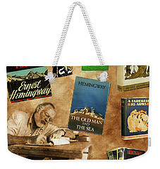 Ernest Hemingway Books 2 Weekender Tote Bag by Andrew Fare